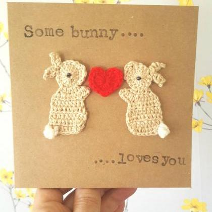 Valentine Bunnies Crochet Card, Ann..