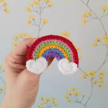 Rainbow Crochet Brooch, Rainbow Fas..
