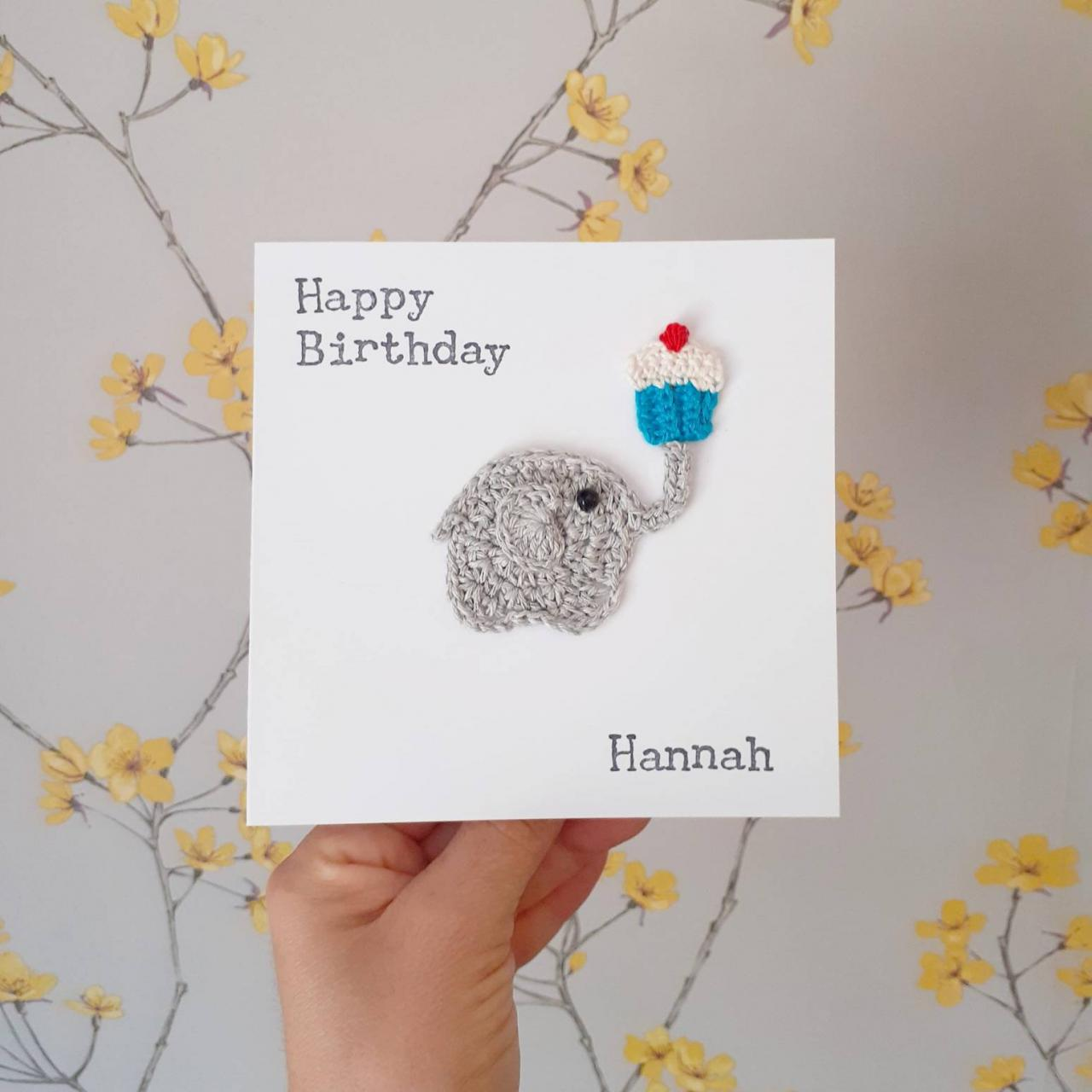Handmade Crochet Greeting Card, Crochet Elephant Birthday Card, Personalised Elephant Card, Elephant Cupcake Card, Cute Card, Special Friend Card, Cake Lovers Card
