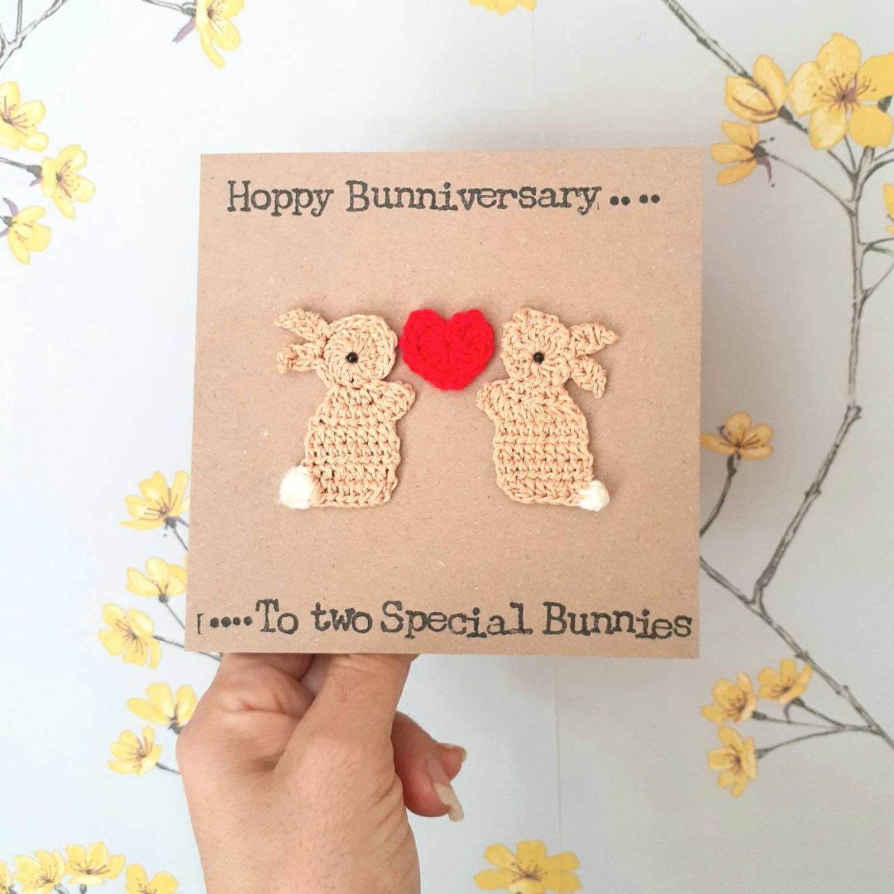 Valentine Bunnies Crochet Card, Anniversary Bunnies Crochet Greeting Card, Crochet Card, Cute Bunnies Card, Love Bunnies Card, Quirky Bunny Card,