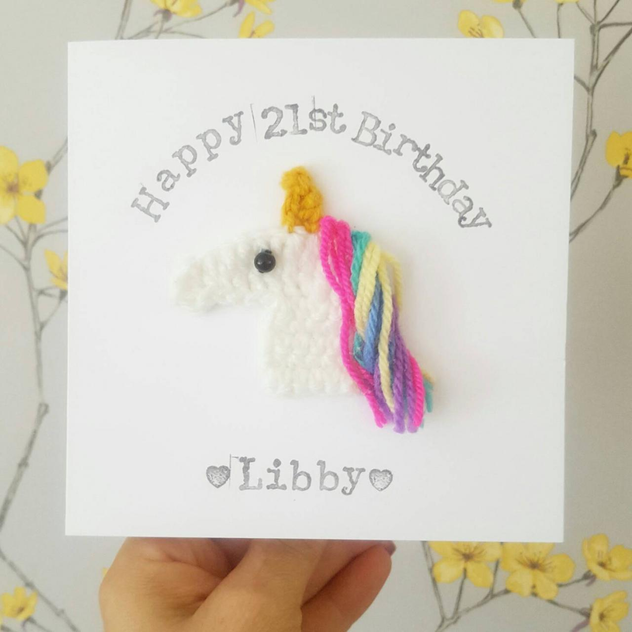 Personalised Handmade Crochet Unicorn Birthday Card, Crochet greeting card, Magical Card, Coming of Age, Unicorn Card, Unicorn Lovers, Quirky Cards