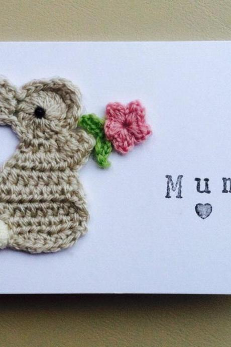 Personalised Handmade 'Mum' Bunny Crochet Greeting Card, Cute Mum Birthday Card, Mother's Day Card, Bunny Birthday Card, Bunny Easter Card