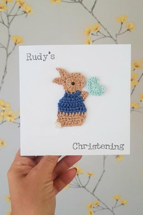 Personalised Handmade Bunny Christening Crochet Greeting Card, Peter Rabbit Inspired New Baby Card, Cute Cards, Bunny Birthday Card, Kids Birthday Card,