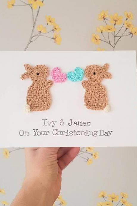Personalised Twins Handmade Bunny Greeting Card for Christening, Baby Twins Card, Baby Twins Christening, Baby Twins Birth,