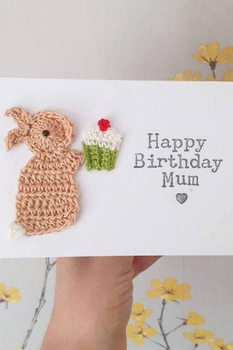 Cute Crochet Greeting Card,Personalised Handmade Mum Bunny Crochet Card, Special Friend Card, Mother's Day Card, Sister Birthday Card, Cake Lovers Birthday Card