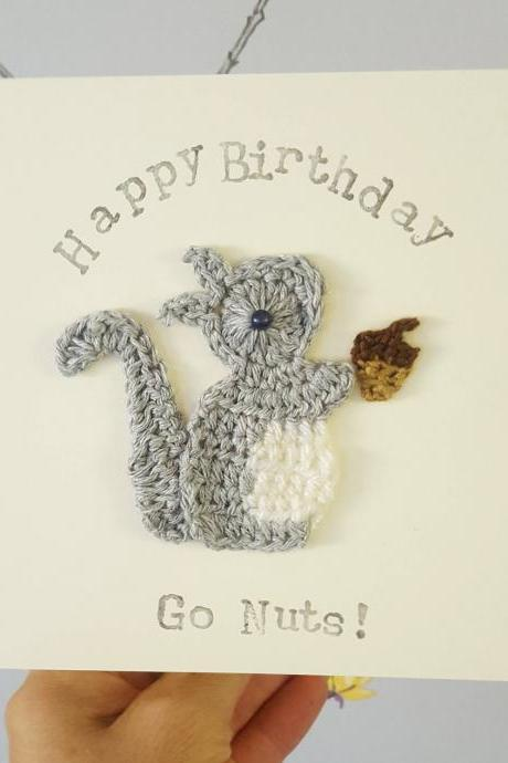 Cute Crochet Greeting Card, Personalised Handmade Crochet Squirrel & Acorn Greeting Card, Special Birthday Card,Cute Birthday Card, Squirrel Card,