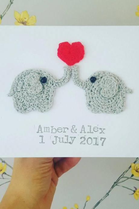 Personalised Anniversary Elephant Crochet Card, Crochet Greeting Card, Elephant Wedding Card, Valentine Elephant Greeting Card, Cute Elephant Card