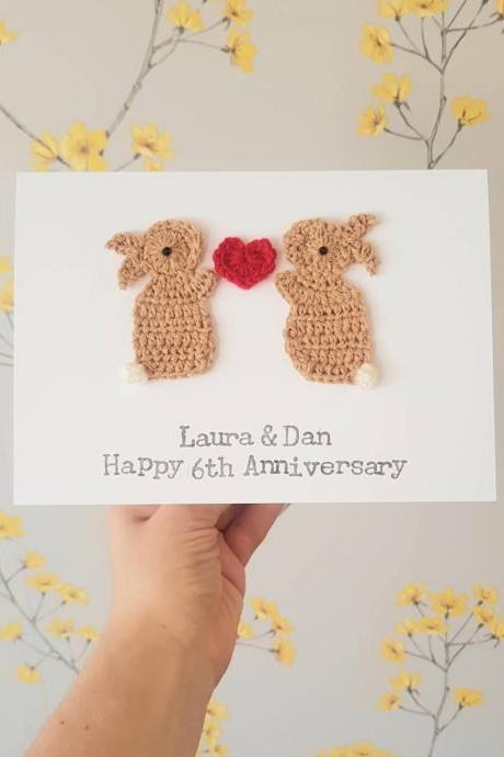Personalised Anniversary Bunny Crochet Greeting Card, Cute Bunny Couple Card, Valentine Bunny Card, Wedding Bunny Card, Bunny Couples Card, Crochet Bunnies