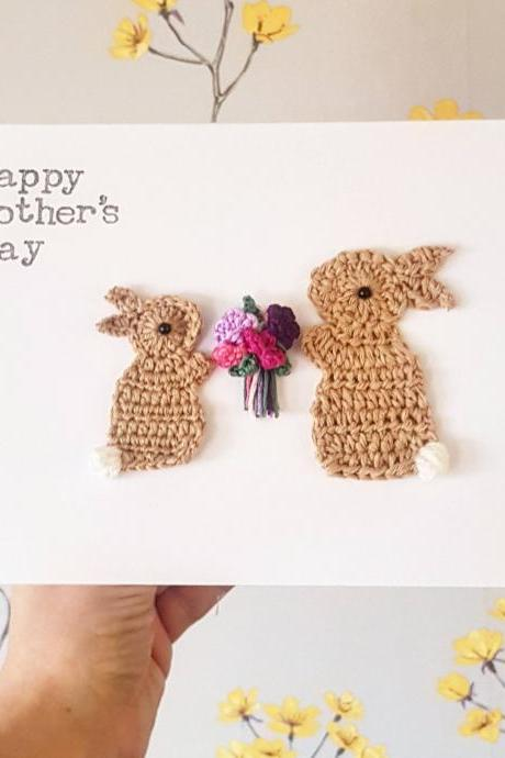 Cute Crochet Greeting Card, Personalised Mother's Day Card, Mum Birthday Card, Bunny Crochet Greeting Card, Cute Mum Birthday Card, Mothers Cards,Grandma Birthday Card