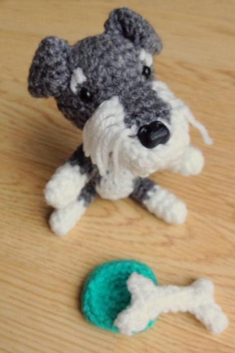 Crochet Toy Animal, Mini Schnauzer Crochet Dog with Bone & Bowl, Schnauzer Gift, Handmade Gift Boxed, Dog Lovers Gift