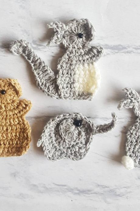 Set of 4 Crochet Animals, Squirrel Crochet Applique, Bunny Crochet Embellishment, Elephant Crochet, Craft Embellishments, Sewing Accessories, Scrapbooking,