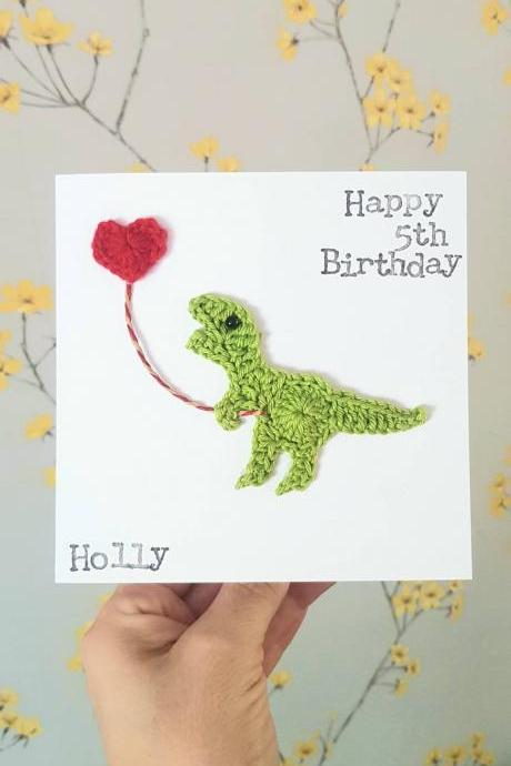 Personalised Handmade Dinosaur Crochet Greeting Card, Birthday Dinosaur Crochet Card, T-Rex Birthday Card, Kids Birthday Card, Quirky Birthday Card