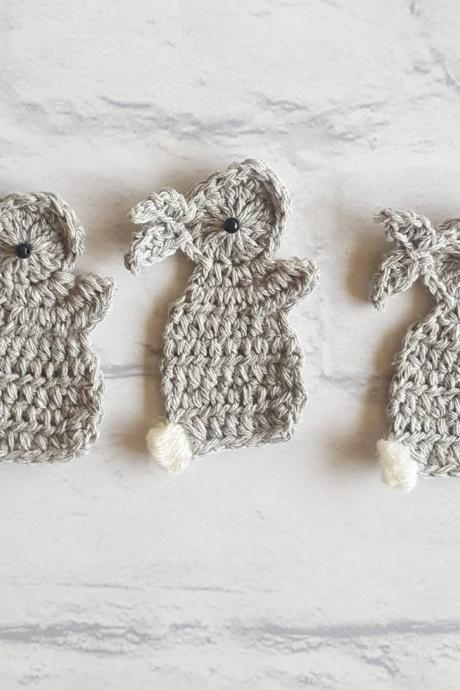 Set of 3 Crochet Embellishment Rabbits, Rabbit Crochet Applique, Crochet Rabbits, Craft Embellishments, Sewing Accessories, Scrapbooking, Applique, Handmade Bunny