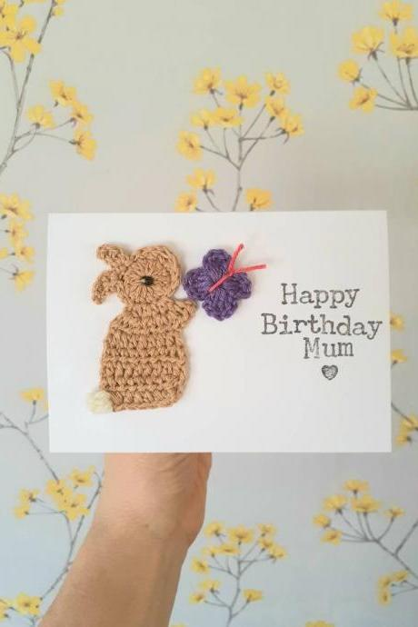 Cute Crochet Greeting Card, Personalised Handmade Bunny & Butterfly Crochet Birthday Card, Girls Birthday Card, Cute Cards, Bunny Birthday Card, Mum Birthday Card