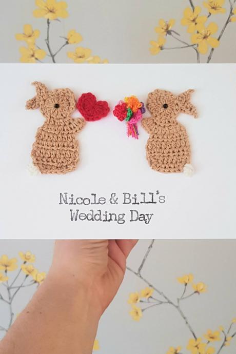 Personalised Handmade Wedding Bunny Crochet Greeting Card, Cute Wedding Card, Personalised Wedding Card, Crochet Bunnies, Anniversary Cards