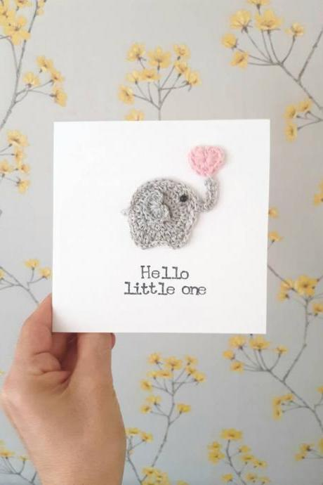 Cute Crochet Greeting Card, Handmade Elephant Baby Girl Crochet Card, Baby Girl Card, New Baby Card, Cute Elephant Card, Kids Birthday Cards, Personalised Baby Card