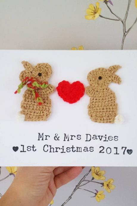Personalised Christmas Card,Crochet greeting card, Christmas Bunny Card, Couples Christmas Card, Husband Christmas Card, Wife Christmas Card, Mum & Dad Christmas