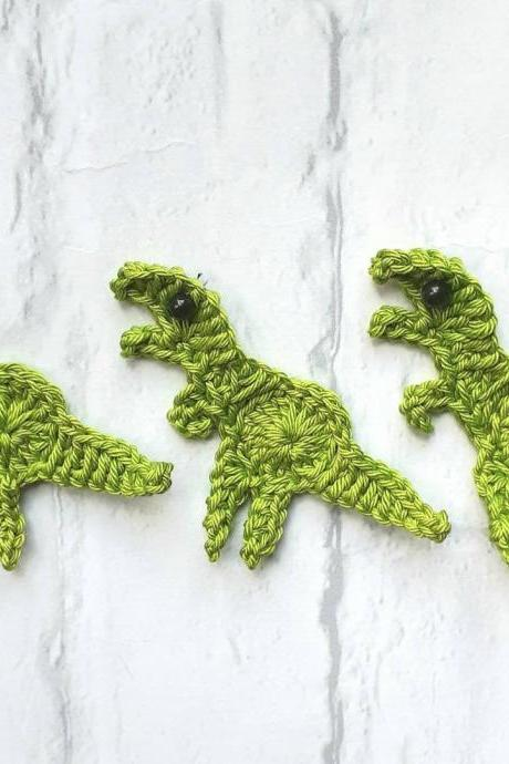 Set of 3 Crochet Dinosaurs, Crochet Embellishment, Dinosaur Crochet Applique, T-Rex Applique, Craft Embellishments, Sewing Accessories, Scrapbooking, Kids Appliques, T-Rex
