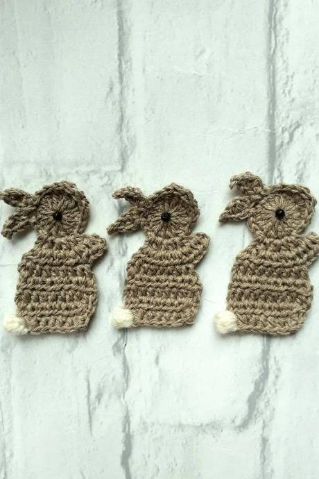 Set of 3 Crochet Applique Rabbits, Rabbit Applique, Crochet embellishment Rabbits, Craft Embellishments, Sewing Accessories, Scrapbooking, Applique, Handmade Bunny