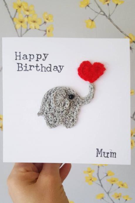 Handmade Elephant Birthday Card, Crochet Greeting Card, Personalised Elephant Card, Elephant Anniversary Card, Valentine Elephant Card, Love Greeting card