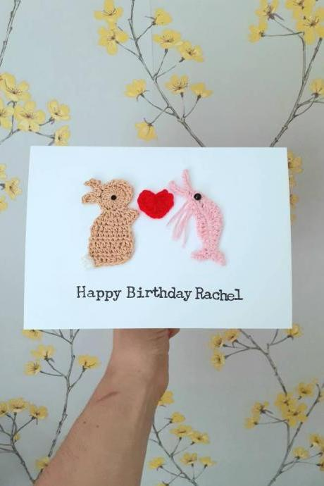 Personalised Anniversary Prawn & Bunny Crochet Card, Crochet Greeting Card,Prawn Lovers Card, Quirky Valentine Card, Prawn Bunny Wedding Card, Quirky Anniversary Card,