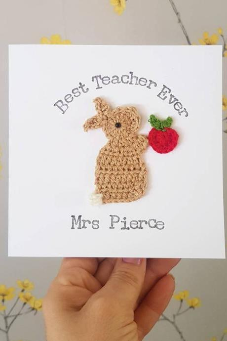 Personalised Handmade Bunny & Apple Crochet Greeting Card, Best Teacher Card Handmade , Thank You Teacher Card, Teaching Assistant Card, Kids Teacher