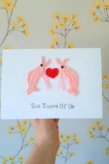 Crochet Greeting Card, Personalised Anniversary Prawn Crochet Card, Prawn Lovers Card, Prawn Valentine Card, Prawn Wedding Card, Quirky Anniversary Card, Prawn Cards