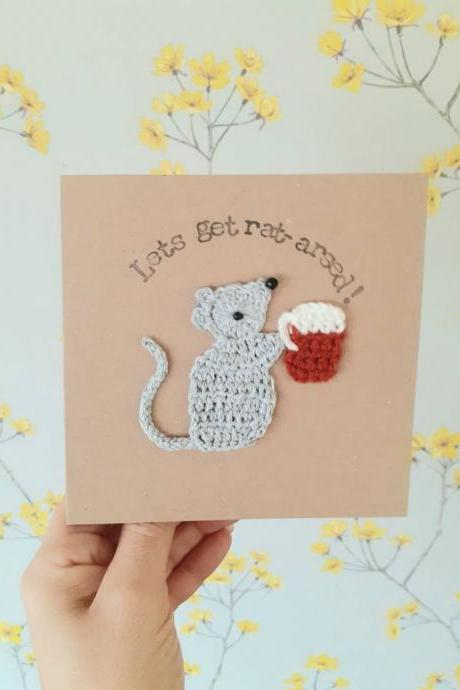 Rat & Beer Crochet Greeting Card Personalised Rat Card, Crochet Card Rat, Beer lovers card, Rat lovers birthday card, Quirky rat card, Rat arsed birthday