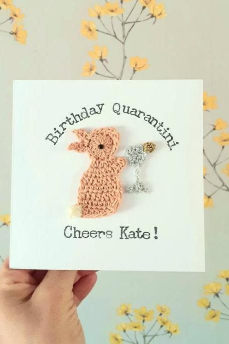Personalised Crochet Bunny Martini Card, Crochet greeting card, Quarantine Birthday Card, Cocktail Lovers Card, Quirky Birthday Card, Special Friend Card,