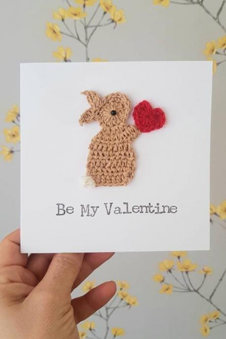 Valentine Bunny & Heart Crochet Greeting Card, Cute Valentine Crochet cards , Bunny Valentine Card. Personalised Valentine Card, Bunny Anniversary Card