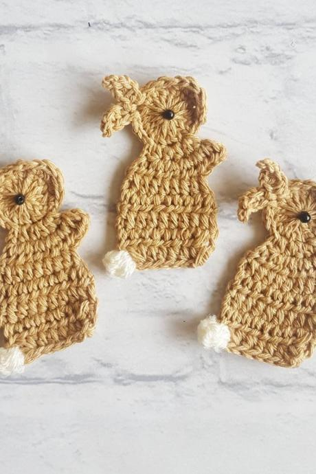 Set of 3 Crochet Rabbits, Crochet Rabbit Applique, Crochet Rabbits, Crochet Embellishments, Sewing Accessories, Scrapbooking, Applique, Handmade Bunny