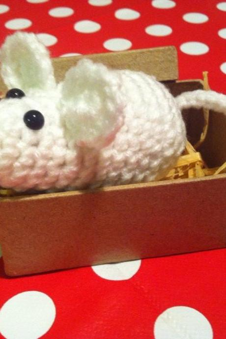 Mouse in a Box Handmade Crochet Toy, Crochet animal stocking filler, birthday keepsake, mouse gifts, cute gifts,