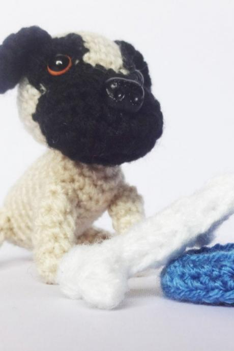 Crochet Toy Animal, Mini Pug Crochet Dog with Bone & Bowl, Handmade Gift Boxed, Pug Soft Toy, Pug gifts