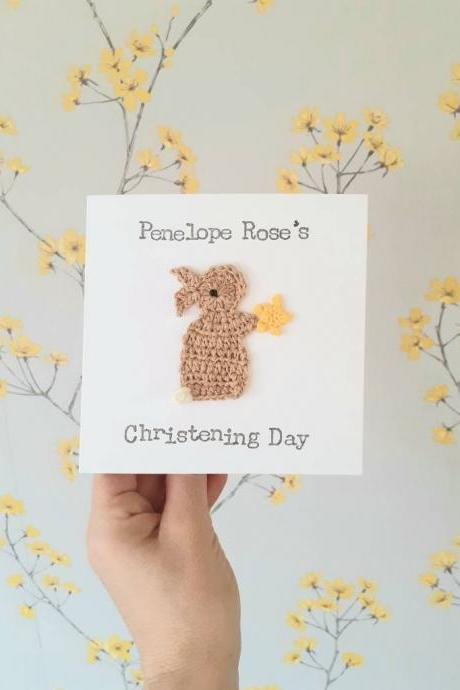 Cute Crochet Card, Personalised Handmade 'Christening Day'' Bunny Crochet Greeting Card, Baby's Christening Card, Baptism Card, New Baby Card