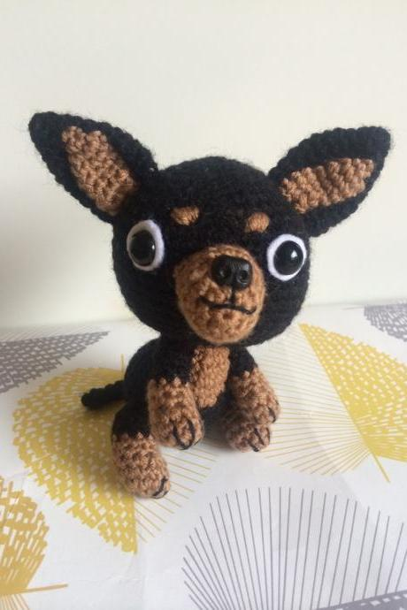 Crochet Chihuahua Dog with Bone & Bowl, Handmade Crochet Toy, Chihuahua Gift, Dog Gift, Chihuahua Plushie, Dog Lovers Gift
