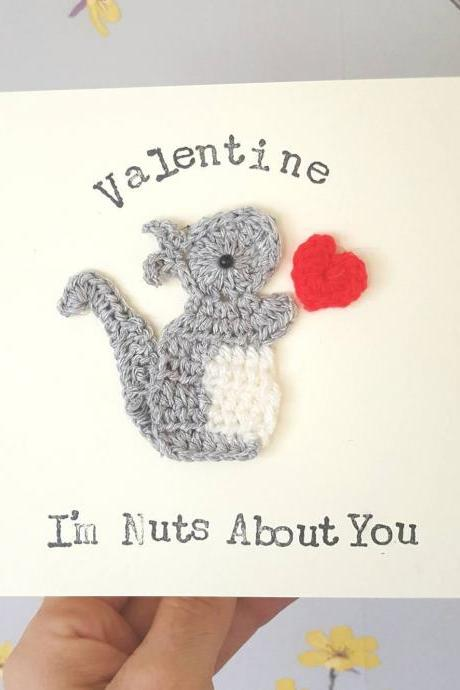 Personalised Handmade Crochet Squirrel Flower Valentine Card, Cute Crochet Greeting Card ,Squirrel Card, Cute Valentine Card, Squirrel Anniversary Card, Squirrel Birthday Card