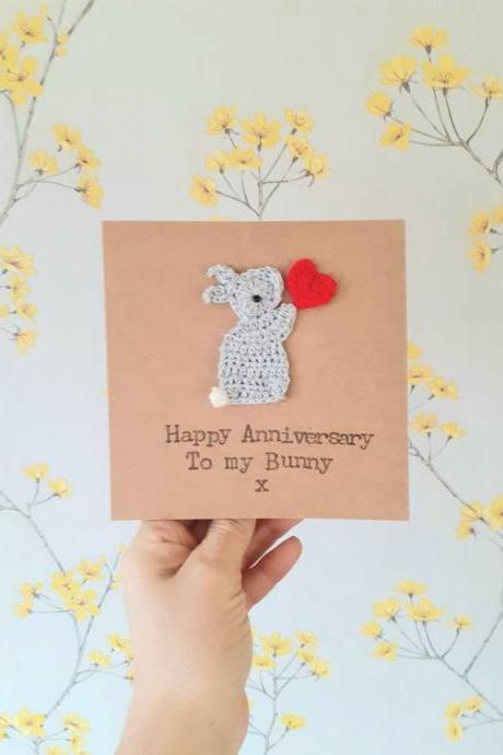Personalised Bunny Anniversary Card, Cute Crochet Greeting Card, Valentine Bunny Flower Card, Crochet Bunny Wife Card, Couples Love Card, Love Bunny Card, Bunny Love Birthday