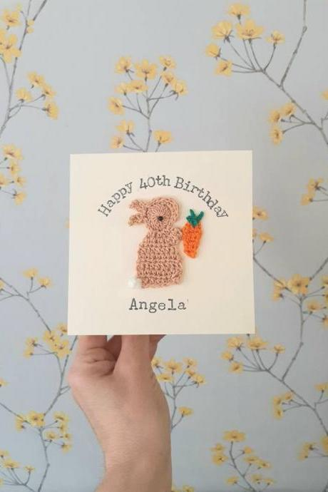 Personalised Handmade Crochet Bunny & Carrot Special Birthday Card, Crochet Greeting Card, Cute Bunny Card, Personalised Bunny Card, Easter Bunny Card