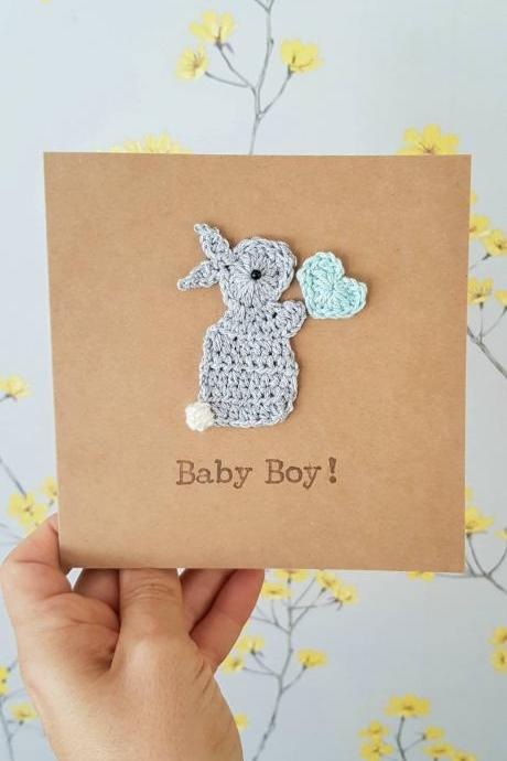 Handmade Bunny Baby Boy Crochet Card, Cute Crochet Greeting Card, New Baby Card, Bunny Card, Baby Boy Card, Baby Bunny Card, Cute New Baby Card, Personalised Baby Card