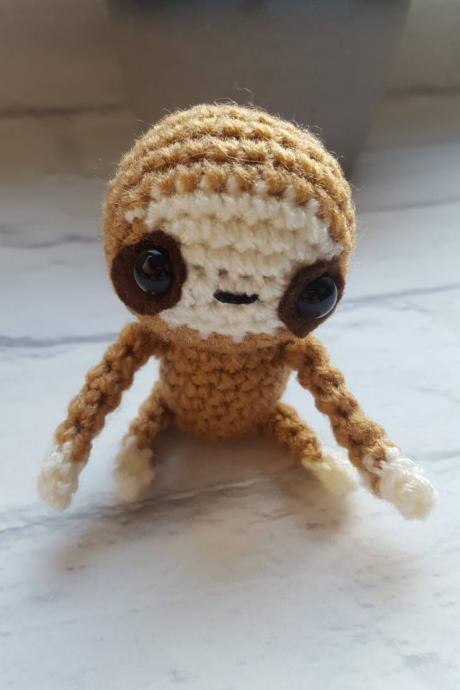 Crochet Baby Sloth Handmade & Gift Boxed, Sloth Toy, Sloth Gift, Crochet Toy Sloth, Mini Beast