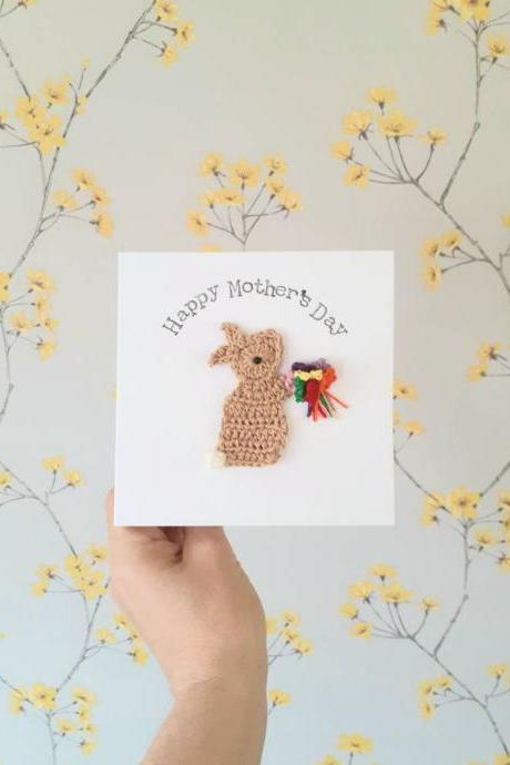 Personalised Handmade Crochet Bunny Bouquet Thank You Card, Crochet Greeting Card, Female Birthday Card, Grandma Birthday Card, Mum Birthday Card, Mothers Day Card