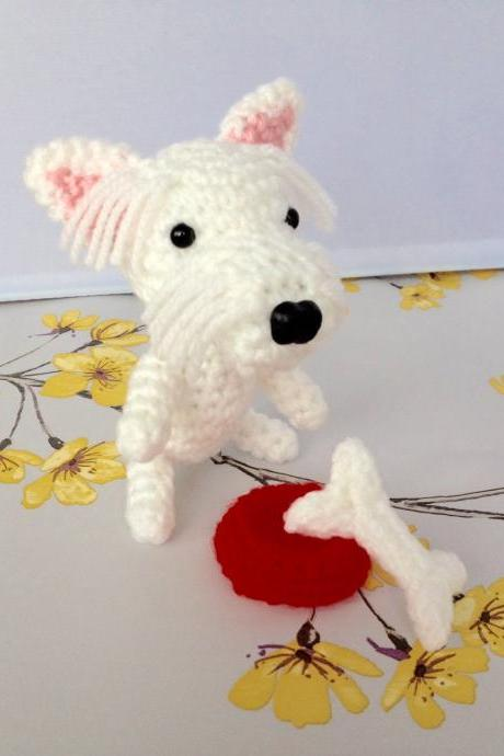 Mini Westie Crochet Dog with Bone & Bowl, Handmade Crochet Toy Dog Gift, Westie Dog Gift, Dog Lovers Gift, Westie Toy, Crochet Dog, Boxed Dog Gift