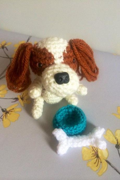 Crochet Toy Animal, Mini Cavalier King Charles Spaniel Crochet Dog with Bone & Bowl, Handmade Gift Boxed