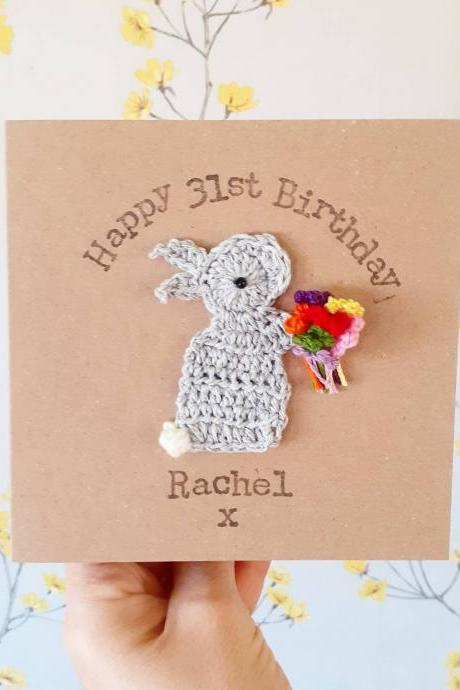 Crochet Greeting Card, Personalised Handmade Crochet Bunny Bouquet Special Birthday Card, Bunny Card, Cute Birthday Card, Keepsake Birthday Card,Rabbit Lovers Card
