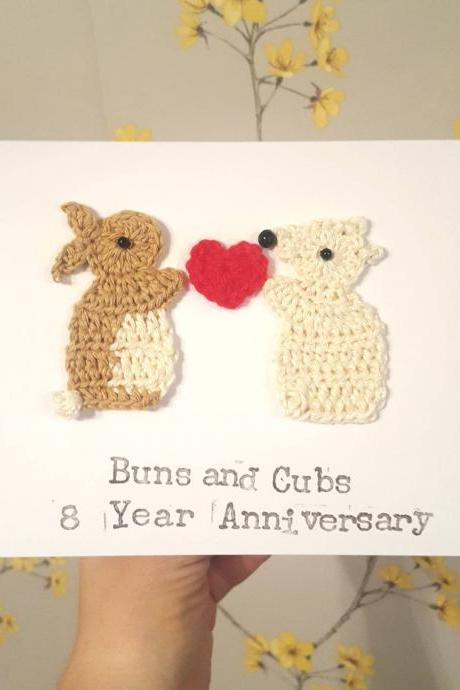 Personalised Anniversary Crochet Card, Wedding Crochet Greeting Card, Valentine Card, Bunny & Polar Bear Card Crochet Greeting Card, Cute Love Card, Quirky Cards