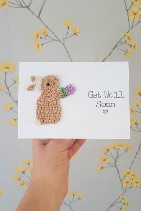 Crochet greeting card, Personalised Handmade Get Well Soon Card, Bunny Crochet Card, Thinking of You Card, Feel Better Card, Cute Bunny Card, Friendship Card