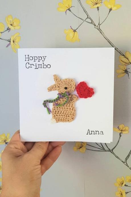 Peronalised Handmade Bunny Crochet Christmas Card, Cute Christmas Crochet greeting card, Bunny Card, Personalised Xmas Card, Bunny lovers, Quirky Xmas Cards