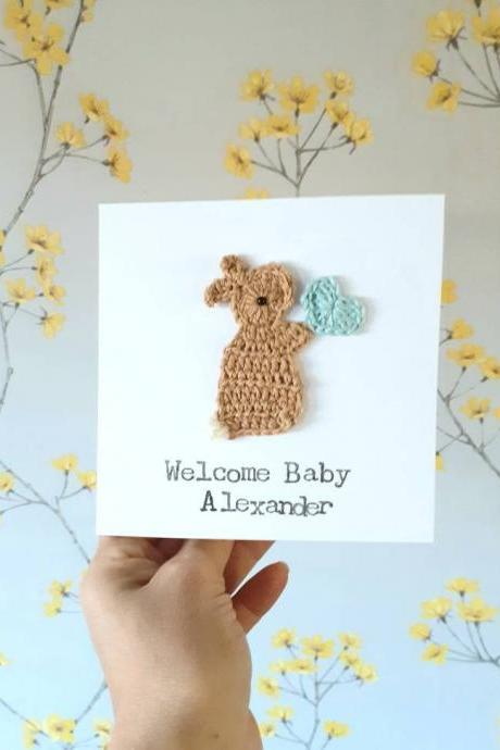 Personalised Handmade New Baby Boy Bunny Crochet Greeting Card, Cute Cards handmade, Bunny Birthday Card, Kids Birthday Card