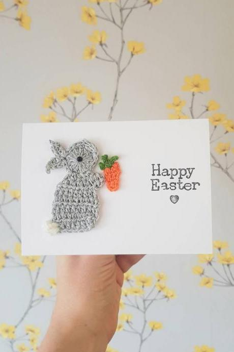 Personalised Handmade Easter Bunny Crochet Card, Crochet greeting card,Cute Easter Card, Bunny Card, Religious Cards, Bunny Carrot Birthday Card, Bunny Birthday