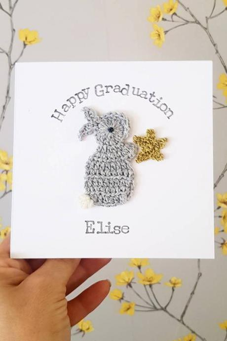 Personalised Handmade Bunny Gold Star Crochet Greeting Card, Cute Graduation Crochet Cards, Exam Card, Good Luck Card, Well Done Card, Driving Test Card